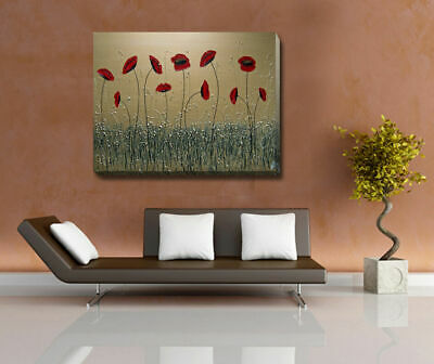 Poppy Flowers Stretched Canvas Print Framed Wall Art Home Office Decor Painting