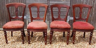Smashing Set - Four Antique Vintage Dining Chairs - Upcycle Shabby Chic Project?