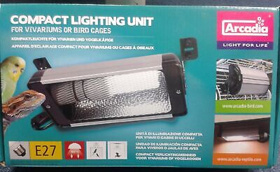 Arcadia Compact Lighting Unit Vivarium Bird Cage E27 Uvb Lamp Reptile Light Bulb