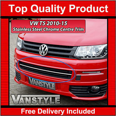 Vw T5 Transporter 2010-15 Front Bumper Lower Grille Strip Chrome Trim Grill T5.1
