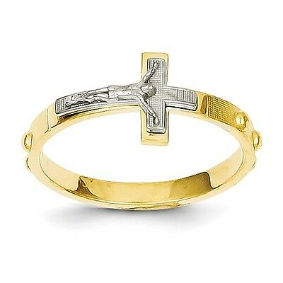 14K Two Tone Gold Crucifix Rosary Ring