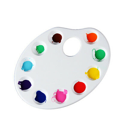 10pc Set Oval Plastic Paint Art Tray Mixing Palette Wells Craft School Supplies