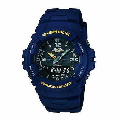Casio Blue G-Shock G-100-2BVMUR Mens Combi Stopwatch Resin Strap Dual Time Watch