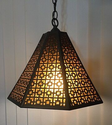 VINTAGE RETRO HANGING LIGHT FIXTURE w/AMBER GLASS BLACK IRON WORK CEILING GOTHIC