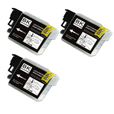 3 BLACK Replacement Ink for Brother LC61 AIO MFC 290C 295CN 490CW 495CW J410w