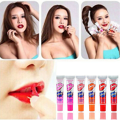 6Colors Romantic Bear LONG LASTING WATERPROOF Lip Gloss LIPSTICK Peel Off Mask