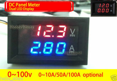 Digital LED Voltmeter Ammeter Meter DC Panel Voltage Current Monitor 12v 24v Car