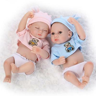 "2PCS 11"" Handmade Reborn Newborn Baby Doll Soft Silicone Vinyl Bath Boy Girl Toy"