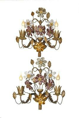 Pair of Antique French Bronze Two Light Wall Sconces with 7  Cut Crystal Flowers
