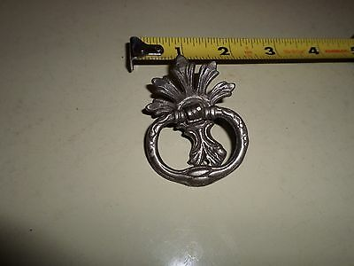 Reduced!  Nickel Plated? Brass Ornate Ring Drawer Pull #49