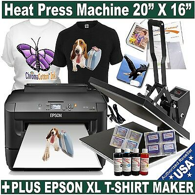 "Epson Wf 7210 Printer Plus Heat Press16""x20"" T-Shirt Transfer T-Shirt Maker Kit"