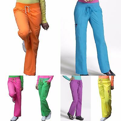New Women Peaches Uniforms Bold Bright Straight Cut Nursing Scrub Pants Xs-Xl