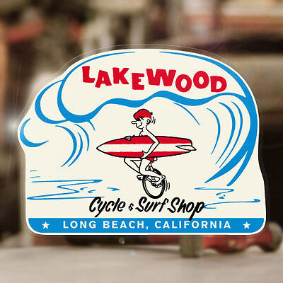 """Lakewood Cycle & Surf Shop sticker decal vintage surfing aloha 4.75"""""""