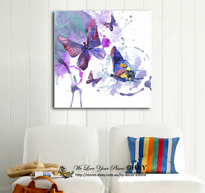 Butterflies Watercolour Stretched Canvas Print Framed Wall Art Decor Painting