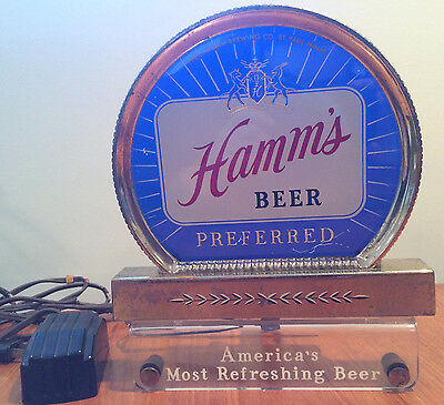 1940s Hamm's Beer Preferred Cash Register Light Sign Blue Reverse Painted Glass