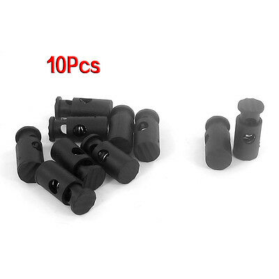 Black Plastic Toggles Stop Drawstring Cord Locks 10 Pcs HY