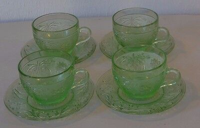 Tiara Sandwich Glass Chantilly Green Pressed Scrolls 4 Cups & Saucers 9 Oz
