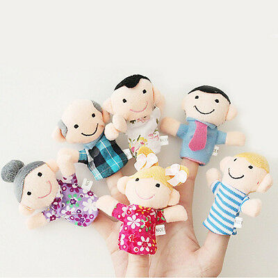 6pcs Family Finger Puppets - People Includes Mom Dad Grandpa Free Cable Tie HY