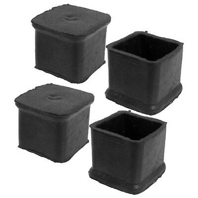 4Pcs Black Square Chair Table Leg Rubber Foot Covers Protectors 28mm x 28mm HY