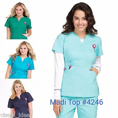 New Women Peaches Uniforms Life Is Peachy Daisy #4240/madi #4246 Scrub Top Xs-Xl