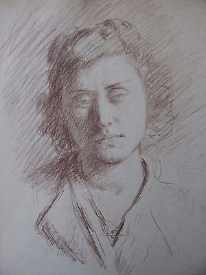 "Garth Williams ""Portrait of a Young Woman"" sepia drawing c1940"