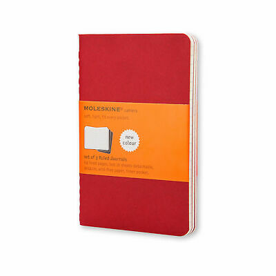 Moleskine Cahiers Collection Red Large 13x21cm Set of 3 Ruled Journal/Notebook