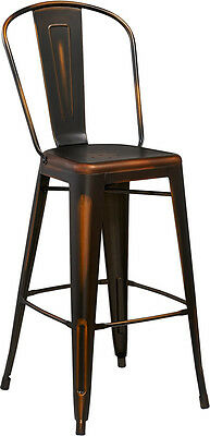 Flash Furniture 30'' High Distressed Copper Metal Indoor Barstool with Back