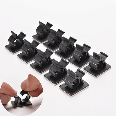 10x Cable Clips Black Adhesive Cord Management Wire Holder Organizer Clamp