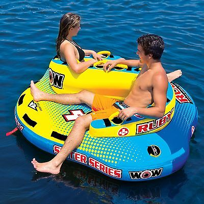 Wow Ruby 2 Person Towable Ski Tube Inflatable Biscuit Boat Ride