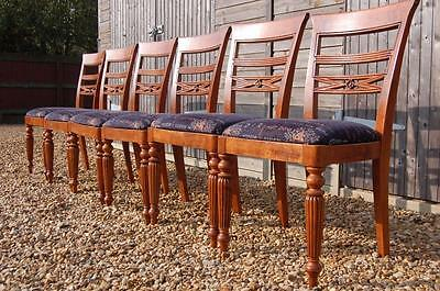 Smashing Set of Six Dining Chairs, Tapestry Seats and Fluted Legs