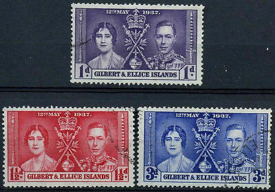 Gilbert & Ellice Islands 1937 SG#40-2 Coronation KGVI Used Set #D15406