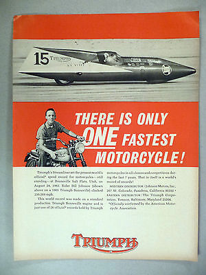 Triumph Motorcycle PRINT AD - 1965 ~~ Bill Johnson, Streamliner, Bonneville