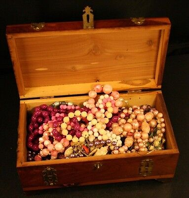 Large Lot Vintage Costume Jewelry Some Wearable Some Not & 1930's Wood Box-37T