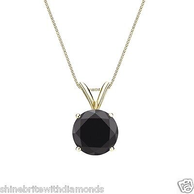 """3 Ct Round Cut Black Solid 14k Yellow Gold Solitaire Pendant 18"""" Necklace"""