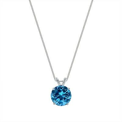 """3 Ct Round Cut Blue Solid 14k White Gold Solitaire Pendant 18"""" Necklace"""