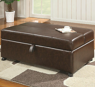 Storage Bench Sleeper Ottoman Folding out Pull Out Bed Guest Room