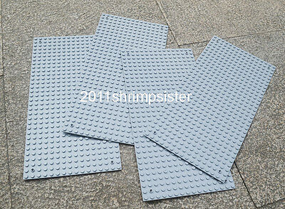 4pc Compatible for Lego figure building display Base Plate 16x32 Dots light gray