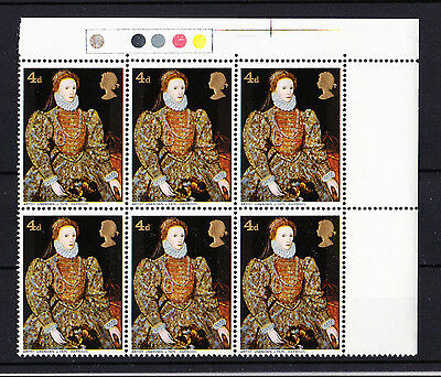 GREAT BRITAIN 1968 4d PAINTINGS WITH BLISTER VARIETY R2/8 SPEC. W138f MNH.