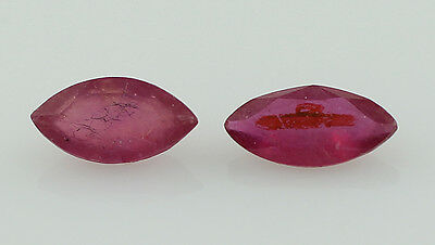 Amazing 1 Ct Ruby 100% Original Marquise Pair Of Red Faceted 3.5X7 Mm Loose Gems