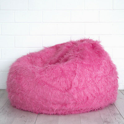 PINK FUR BEANBAG Cover Soft Bedroom Luxury Polo Bean Bag Lounge Movie Chair  New d3f52c7c1543d