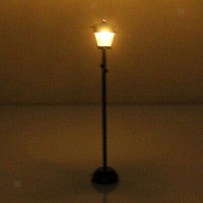 Dolls House Miniature LED Light Street Lamp Black Battery Operated W/ Switch