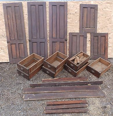 Antique Chestnut Cabinet Cupboard Doors Drawers Old Vintage Hardware 295-16