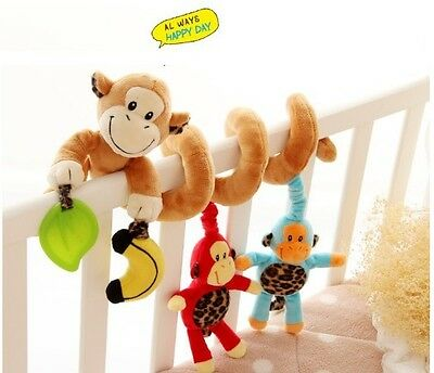 NEW Baby Twisty Curly Spiral Activity Stroller Pram Cot Lathe Hanging Monkey Toy