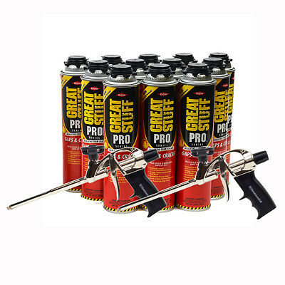 Dow Great Stuff PRO Gap and Crack, 24 oz, Case of 12 Cans + 2 Pro Foam Gun
