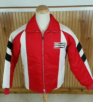 Vtg 70s Champion Spark Plugs Pit Racing Jacket Coat Reversible M Drag Motorcycle