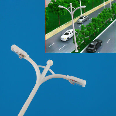 20x White 1/200 Z scale train layout model lamppost lamp Double-end 5.5CM