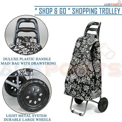 D.LINE Shopping Trolley - Camellia Black  Rolling Wheel Collapsible Cart Bag