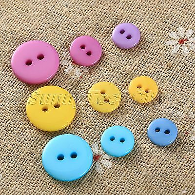 100Pcs 9/10/15mm Resin Buttons 2 Holes Clothes Accessories Sewing DIY Scrapbook