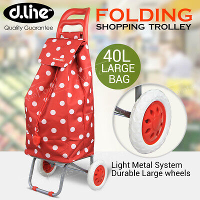 D.LINE Shopping Trolley - Cherry Dots Rolling Wheel Collapsible Cart Bag
