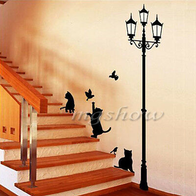 Streetlight And Cat Room Decor Removable Decal Vinyl Mural Art PVC Wall Sticker